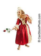 Charming Princess Showing Red Rose