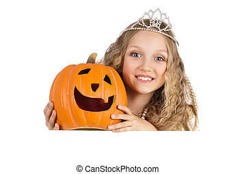 Charming Princess with Pumpkin Holding the Big Banner