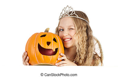 Charming Princess with Pumpkin Holding the Sign