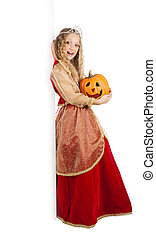 Charming Princess with Pumpkin Standing near the Big Banner