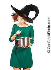 witch brew - Charming red-haired witch brews a witch's brew...