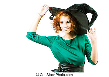 red-haired witch - Charming red-haired witch. Halloween. ...