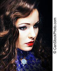 Charming Romantic Brunette Woman Closeup Portrait