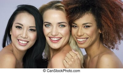 Charming smiling women in studio - Portrait of charming...