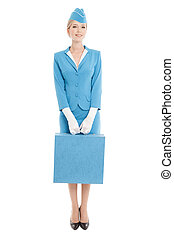 Charming Stewardess Dressed In Blue Uniform And Suitcase On White Background