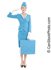 Charming Stewardess Dressed In Blue Uniform And Suitcase On...