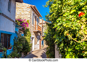 Charming street in an old village of Lefkara. Larnaca District, Cyprus