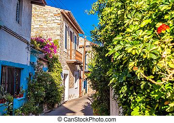 Charming street in an old village of Lefkara. Larnaca District, Cyprus