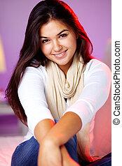 Charming teenager  - Charming young girl smiling at camera