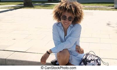 Charming trendy black woman on street - Young casual pretty ...