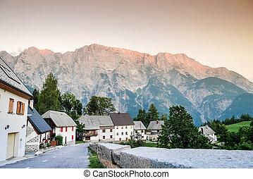 Charming village in Triglav National Park, Slovenia, Europe