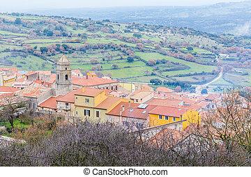 Charming little village Villanova Monteleone in Sardinie, Italy
