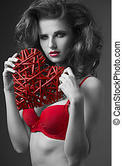 charming woman in valentines portrait - charming brunette...