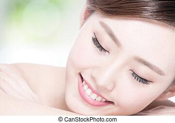 Charming woman Smile enjoy spa
