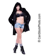 woman wearing winter fur coat
