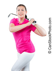 charming young athlete with a golf club on a white background in studio