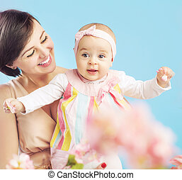 Charming young mother with lovely child