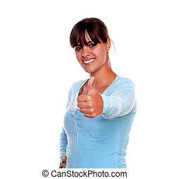Charming young woman showing you ok sign