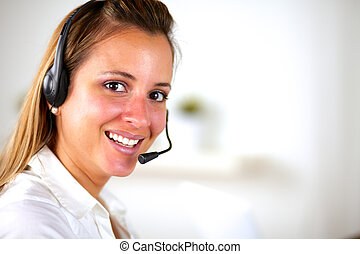 Charming young woman using headphones - Charming young...