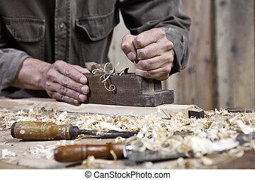 charpenterie, établi, avion, charpentier, mains