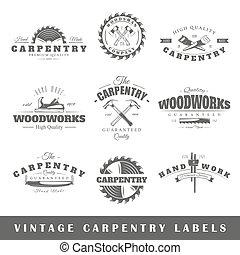 charpenterie, ensemble, vendange, étiquettes