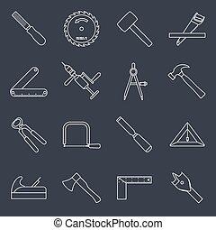 charpenterie, outils, contour, icônes