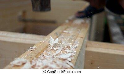 charpentier, construction, site., marteau, utilisation