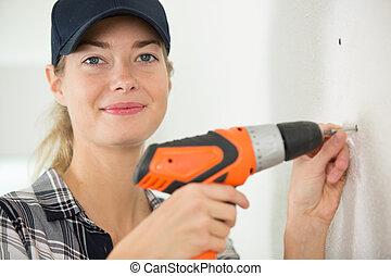 charpentier, femme, foret, bois, utilisation