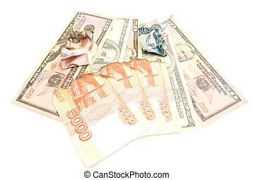 charred rubles banknotes and dollars