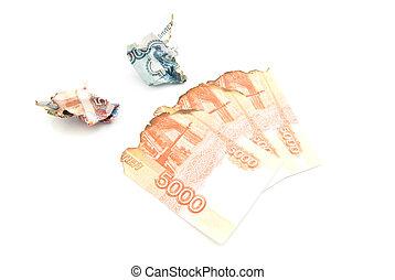 charred russian banknotes
