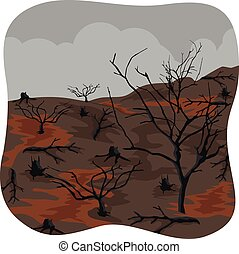Charred trees after forest fire - illustration of charred...