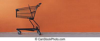 charrette, achats, arrière-plan orange