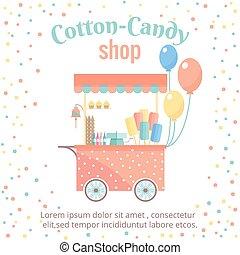 charrette, achats, bonbon, rue, glace, coton