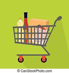charrette, achats, icône