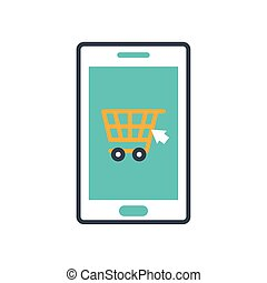 charrette, achats, icône, smartphone