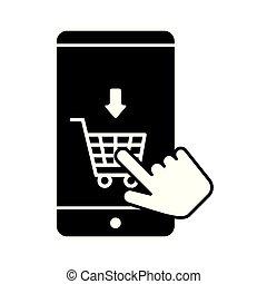 charrette, achats, smartphone, icône