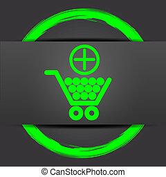 charrette, ajouter, icône, achats