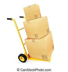 charrette bras, carton