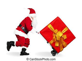 charrette, claus, courant, achats, santa, heureux, chariot