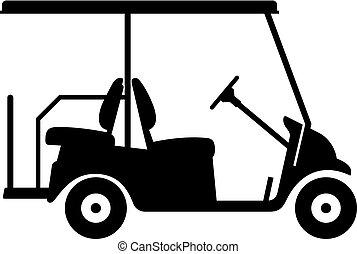 charrette, golf, voiture, ou