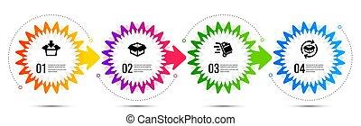 charrette, icônes, boîte, boîte, set., retour, poussée, ouvert, signe., vecteur, obtenir, paquet