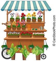 charrette, isolé, vendeur, fleur