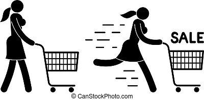 charrette, marche, achats, femme, pictogramme