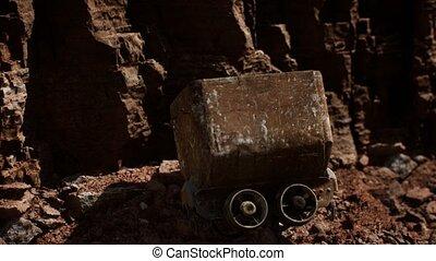 charrette, mine, abandonnés, utilisé, jonc, pendant, chariot, or, minerai