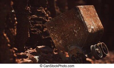 charrette, or, utilisé, pendant, chariot, jonc, mine, minerai, abandonnés