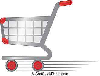 charrette, rapide, achats