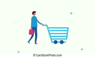 charrette, sac, achats, homme