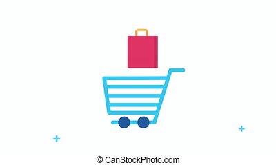 charrette, sac, achats, icônes