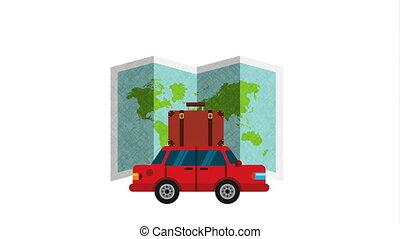 charrette, valise, carte, papier, voyage