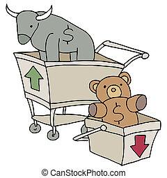 charrettes, achats, ours, taureau